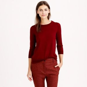 J. Crew Merino Wool Burgundy Red Tippi Sweater